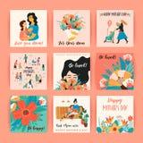 ευτυχείς μητέρες ημέρας Διανυσματικά πρότυπα για την κάρτα, την αφίσα, το έμβλημα, και άλλη χρήση απεικόνιση αποθεμάτων