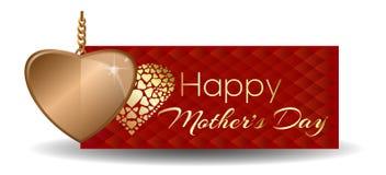 ευτυχείς μητέρες ημέρας Ευχετήρια κάρτα με τη χρυσή καρδιά Στοκ εικόνα με δικαίωμα ελεύθερης χρήσης