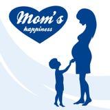 ευτυχείς μητέρες ημέρας Μητρότητα και παιδική ηλικία Έγχρωμη εικονογράφηση Στοκ φωτογραφίες με δικαίωμα ελεύθερης χρήσης