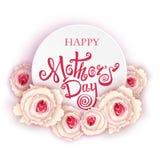 ευτυχείς μητέρες ημέρας Χειροποίητη καλλιγραφία και τριαντάφυλλα Στοκ εικόνες με δικαίωμα ελεύθερης χρήσης