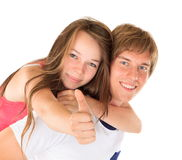 Ευτυχείς νέοι αδελφός και αδελφή στοκ εικόνες