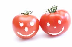 ευτυχείς ντομάτες Στοκ εικόνες με δικαίωμα ελεύθερης χρήσης