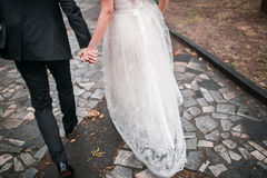 Ευτυχείς νύφη και νεόνυμφος σε ένα πάρκο κατάλληλη σύσταση φωτός του ήλιου οδικών πετρών ανασκόπησης ασφάλτου Φθινόπωρο στοκ φωτογραφία με δικαίωμα ελεύθερης χρήσης