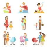 Ευτυχείς οικογένειες με τα παιδιά και τα μωρά διανυσματική απεικόνιση