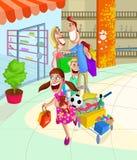 Ευτυχείς οικογενειακές αγορές ελεύθερη απεικόνιση δικαιώματος