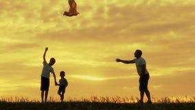 Ευτυχείς οικογενειακοί πατέρας και παιδιά που τρέχουν στο λιβάδι με έναν ικτίνο το καλοκαίρι στο ηλιοβασίλεμα απόθεμα βίντεο