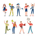 Ευτυχείς οπαδοί αθλήματος και χαρακτήρες υποστηρικτών Υποστήριξη για τις διανυσματικές απεικονίσεις ομάδων μπέιζμπολ Στοκ Εικόνες