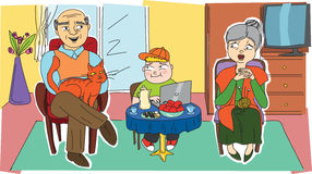 Ευτυχείς παππούδες και γιαγιάδες και το εγγόνι τους Στοκ εικόνα με δικαίωμα ελεύθερης χρήσης