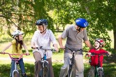 Ευτυχείς παππούδες και γιαγιάδες με τα εγγόνια τους στο ποδήλατό τους Στοκ Φωτογραφία
