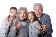 Ευτυχείς παππούδες και γιαγιάδες με τα εγγόνια τους Στοκ εικόνες με δικαίωμα ελεύθερης χρήσης