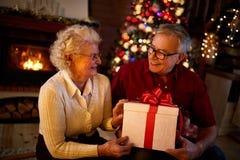 Ευτυχείς παππούδες και γιαγιάδες που χαμογελούν και που κρατούν το μεγάλο δώρο Στοκ φωτογραφία με δικαίωμα ελεύθερης χρήσης