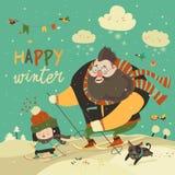 Ευτυχείς πατέρας και κόρη που κάνουν σκι στο χιόνι Στοκ Εικόνες