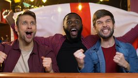 Ευτυχείς πολυφυλετικοί ανεμιστήρες με την αγγλική σημαία που χαίρεται την εθνική νίκη αθλητικών ομάδων απόθεμα βίντεο