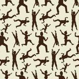 Ευτυχείς σκιαγραφίες αγοριών στο άνευ ραφής πρότυπο Στοκ Εικόνες