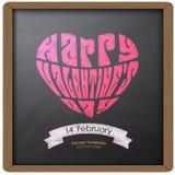 Ευτυχείς σχέδιο και καρδιά τυπογραφίας ημέρας βαλεντίνων στο αναδρομικό εκλεκτής ποιότητας ύφος σύστασης υποβάθρου πινάκων κιμωλί Στοκ Φωτογραφία