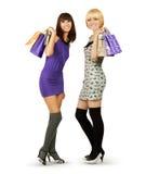 Ευτυχείς τσάντες αγορών εκμετάλλευσης γυναικών Στοκ εικόνες με δικαίωμα ελεύθερης χρήσης