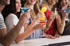 Ευτυχείς φίλοι που έχουν ένα ποτό από κοινού Στοκ εικόνες με δικαίωμα ελεύθερης χρήσης