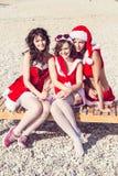 Ευτυχείς φίλοι στα καπέλα santa στην παραλία τα Χριστούγεννα σύνδεσαν την κενή ειδικά εικόνα γραφείων lap-top Διαδικτύου βιομηχαν Στοκ Εικόνα