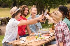 Ευτυχείς φίλοι στο πάρκο που έχει το μεσημεριανό γεύμα Στοκ Φωτογραφίες