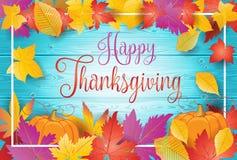 Ευτυχείς φύλλα και κολοκύθα πτώσης ημέρας των ευχαριστιών διανυσματική απεικόνιση