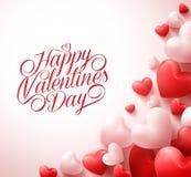 Ευτυχείς χαιρετισμοί ημέρας βαλεντίνων με τις τρισδιάστατες ρεαλιστικές κόκκινες καρδιές και την τυπογραφία απεικόνιση αποθεμάτων