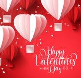 Ευτυχείς χαιρετισμοί ημέρας βαλεντίνων με το πέταγμα μπαλονιών μορφής καρδιών περικοπών εγγράφου απεικόνιση αποθεμάτων