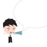 Ευτυχείς χαμόγελο και εκμετάλλευση επιχειρηματιών για να φωνάξει megaphone στο άσπρο υπόβαθρο Στοκ Εικόνα