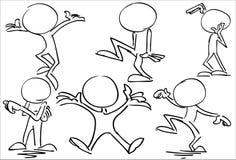 Ευτυχείς χορεύοντας απρόσωποι χαρακτήρες amd ελεύθερη απεικόνιση δικαιώματος