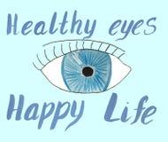 Ευτυχισμένη ζωή ματιών ματιών και επιγραφής υγιής διανυσματική απεικόνιση
