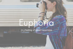 Ευφορία που αισθάνεται τη μεγάλη έννοια ευτυχίας ευχαρίστησης Στοκ Φωτογραφία