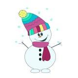Ευχάριστα καλός χιονάνθρωπος διασκέδασης στο ζωηρόχρωμα μαντίλι και το καπέλο Στοκ φωτογραφίες με δικαίωμα ελεύθερης χρήσης