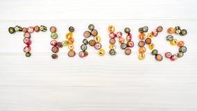 ΕΥΧΑΡΙΣΤΙΕΣ μιας λέξης φιαγμένες από χρωματισμένες καραμέλες καραμέλας Στοκ φωτογραφία με δικαίωμα ελεύθερης χρήσης