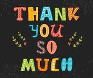 Ευχαριστώ πολύ κάρτα χαριτωμένος χαιρετισμός &kap Στοκ Εικόνες