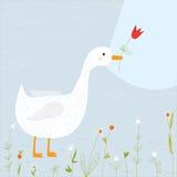 Ευχετήρια κάρτα άνοιξη με τη χήνα και τα λουλούδια Στοκ Φωτογραφία