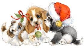 Ευχετήρια κάρτα έτους σκυλιών χαριτωμένη απεικόνιση watercolor κουταβιών απεικόνιση αποθεμάτων