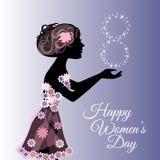 Ευχετήρια κάρτα ή έμβλημα για την 8η Μαρτίου ευτυχείς s γυναίκες ημέρας Στοκ φωτογραφία με δικαίωμα ελεύθερης χρήσης