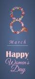 Ευχετήρια κάρτα ή έμβλημα για την 8η Μαρτίου ευτυχείς s γυναίκες ημέρας Στοκ Εικόνες