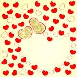 Ευχετήρια κάρτα αγάπης με το πλαίσιο καρδιών για το κίτρινο υπόβαθρο επιθυμιών Με την ημέρα βαλεντίνων ` s επίσης corel σύρετε το διανυσματική απεικόνιση