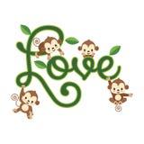 Ευχετήρια κάρτα βαλεντίνων Λίγος πίθηκος που κρεμά στην εγγραφή ΑΓΑΠΗΣ απεικόνιση αποθεμάτων