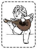 Ευχετήρια κάρτα βαλεντίνων του ST, άγγελος με την κιθάρα, διάνυσμα Στοκ Φωτογραφία