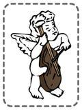 Ευχετήρια κάρτα βαλεντίνων του ST, άγγελος με το βιολοντσέλο, διάνυσμα Στοκ Εικόνα