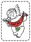 Ευχετήρια κάρτα βαλεντίνων του ST, άγγελος, amore, διάνυσμα απεικόνιση αποθεμάτων