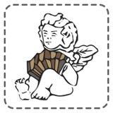 Ευχετήρια κάρτα βαλεντίνων του ST, ακκορντέον παιχνιδιού αγγέλου, διάνυσμα Στοκ εικόνες με δικαίωμα ελεύθερης χρήσης