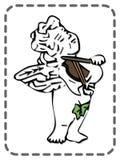 Ευχετήρια κάρτα βαλεντίνων του ST, βιολί παιχνιδιού αγγέλου, διάνυσμα Στοκ Εικόνες