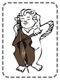 Ευχετήρια κάρτα βαλεντίνων του ST, βιολοντσέλο παιχνιδιού αγγέλου, διάνυσμα Στοκ εικόνα με δικαίωμα ελεύθερης χρήσης
