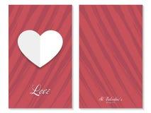 Ευχετήρια κάρτα βαλεντίνων του ST, καρδιά εγγράφου, διάνυσμα Στοκ Φωτογραφία
