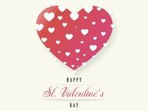 Ευχετήρια κάρτα βαλεντίνων του ST με μια μεγάλη καρδιά, διάνυσμα ελεύθερη απεικόνιση δικαιώματος