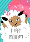 Ευχετήρια κάρτα γενεθλίων με τα χαριτωμένα πρόβατα απεικόνιση αποθεμάτων