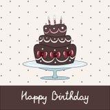 Ευχετήρια κάρτα γενεθλίων με το κέικ σοκολάτας ελεύθερη απεικόνιση δικαιώματος