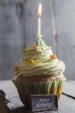 Ευχετήρια κάρτα γενεθλίων, κέικ με ένα κερί, εκλεκτής ποιότητας ύφος Στοκ Εικόνες